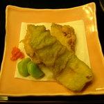 古仙 - 穴子の蕗巻・鮎の緑揚げ・べい茄子とさより挟み揚げ・空豆♪