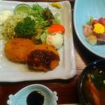 44770834 - 三島コロッケのお膳、刺身の小鉢つきです(2015年10月末)