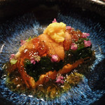 44774381 - 卵豆腐(ほうれん草、菱蟹、うに、菊)出汁のゼリー