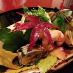 44774466 - 八寸(鯖寿司、ゆず釜、海老芋、イチョウ芋、さんまくらま煮、海老、丹波栗、きゅうり、ぎんなん)
