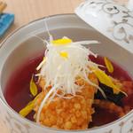 新割烹 丹色 - 秋茄子と伝助穴子のあられ揚げ