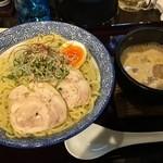 ラーメン わんさか - 「濃厚海老白湯つけ麺(半卵入り)」