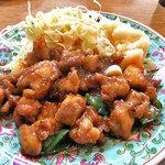 お食事処大吉 - 料理写真:「鶏丁定食」のメイン(2010年7月)