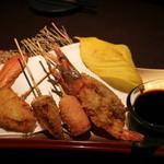 産直鮮魚と個室 葉隠 心斎橋店 - 豪華串揚げ 5種盛り