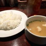 肉バル 310 - ライスとスープというか薄い味噌汁