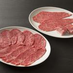 霜降りと赤身肉の盛り合わせ