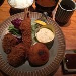 本かつ喜 - 牡蠣と天使の海老のお皿 2280円