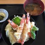 レストラン美浜 - 車海老の天丼(単品なら税込1200円だそうです)