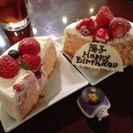 44899258 - H.27.11.26.夜 お誕生日ケーキ(急だったのに用意してくださいました)