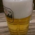 牛たん炭焼 利久  - 生ビール¥500(別途お通し¥350付き)