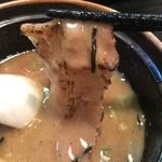 44904182 - 炙り豚生姜焼きスープ浸しアップ