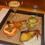 四季彩 かしも - 焼き八寸(ぶりの西京焼き、カモ燻製、揚げ胡桃のおろし長芋まぜ、など)