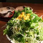仁亭 - 山盛りサラダ