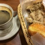 44932573 - 一番人気のパンとピロシキパン                                                     & ホットコーヒー!