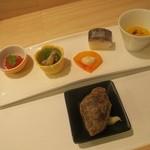 44939881 - イクラ キノコ煮浸し 柿白和え 鯖寿司 南瓜スープ