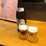 四川家庭料理 珍々 - 中瓶ビール560円(税別)