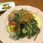 44949346 - メイン料理(若鶏といろいろ野菜の山芋ジンジャー)(2015.11.28)