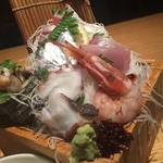 寿司ろばた 八條 - 関アジと地魚5種盛定食接写
