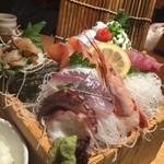 寿司ろばた 八條 - 枡盛り刺身定食接写…アジは普通のです。