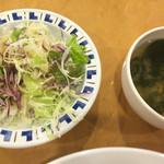 44961590 - 週替りスパゲッティ(小海老とホタテトマトソース) ¥820 に付くサラダ、スープ