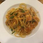 44961593 - 週替りスパゲッティ(小海老とホタテトマトソース) ¥820
