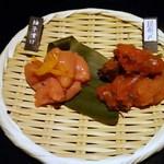 44962820 - 2種の博多明太子テイスティング(柚子漬、昆布〆)