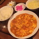 miyamahanten - ランチの『エビと玉子のチリソース煮』(700円)2015年11月