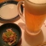 日本海庄や - 生ビール594円・お通し410円。