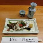 割烹ながい - 料理写真:付き出し500円と和歌山のお酒「長久」