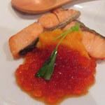 あなご料理 大金 - 鮭の柚庵焼いくら添え