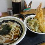 道蕎麦 - 天丼セットうどん1玉980円