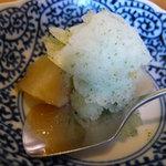 たけ鮓 - 桃のコンポートと青紫蘇シャーベット