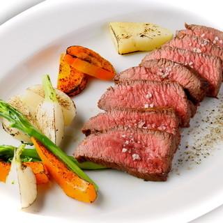 産直・青森産短角和牛しんたまのローストと産直伊那谷産有機野菜