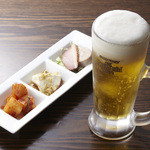 青葉 - 生プレモルビール+三点プレート750円