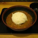 麺処 眞力 - 残った汁に入れて雑炊風にできます。