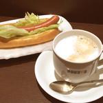 ドトールコーヒーショップ - レタスドッグ/ホットカフェラテM