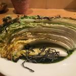 もつ鍋 野菜 古民家居酒屋 信助 - 白菜と春菊のステーキ ウニクリームソース 620円。