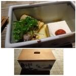 博多 十和蔵 - お通し・・南蛮漬けとなんとか豆腐。お会計からすると500円程度かしら。