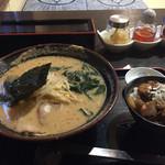 福寅 - 胡麻ラーメンと牛筋丼セット 1030円