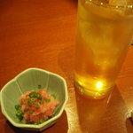 和楽 - お通し(300円)と生茶ハイ