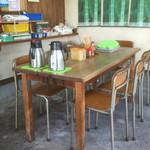 新福助 - 学校の椅子が使われている。