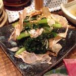 溶岩炉端焼き イナホノシズク - 春菊と小松菜の胡麻和え(430円)