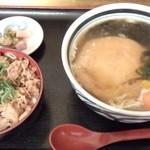 瀬戸内製麺710 - きつね月見うどん&牛めしセット(H27.11.28)