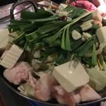 お籠り個室と彩りなだれ寿司 瑞kitchen - もつ鍋。締めの雑炊は少し残してしまいました。ごめんなさい。