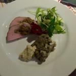 チッティーノ - 牡蠣とレンズ豆のゼリー寄せと豚肉のトスカーナ風ロースト