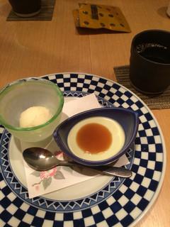 新伝馬町 さゝぶ - レディースランチのずんだムースとゆずシャーベットとコーヒー