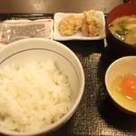 なか卯 - 卵朝定230円+唐揚げ(クーポン)