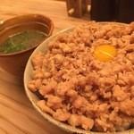 45181739 - うずらの卵を落としたボリューミーなそぼろ丼と鶏スープ