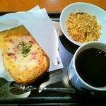 タリーズコーヒー - モーニング(オープンサンドベーコンツナメルト&ヨーグルト+コーヒー