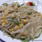 サラスワティ - 半田そうめんのスープパスタ。スープで炒めた焼そうめん風です。